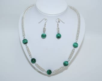 Handcrafted Sterling Silver and Malachite necklace and earring set