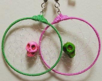 Green and Pink Skull Dreamcatcher Earrings