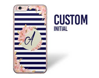 Custom Initial iPhone Case, Watercolor iPhone 6s Case, Pink Flower Case, iPhone 7 Case, Striped Navy Phone case, Floral iPhone 5 se