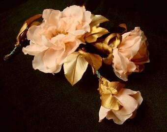 Wedding hair/dress accessories,100% handmade, flower clip and pin, floral hairpiece, bridal hair accessory, peach flower hair clip.