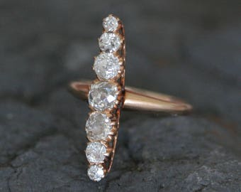 Antique Cushion Cut and Old Mine Cut Diamond Ring 1.28 cts Navette Ring in 14k Rose Gold Ring - GI7