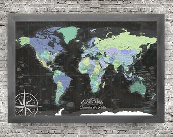 The Enterprise World Map is a Push Pin Travel Map, Features the USA States and Wonders of the World, Personalized Map