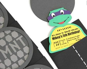 Teenage Mutant Ninja Turtles Invitations - TMNT Invitations - Ninja Turtles - Birthday - 'Who's Hiding Under the Sewer' Invites - 10/pack