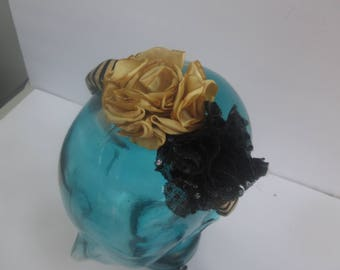 FLORAL HEADBAND, dressy headband, silver or gold, fabric headband, womans headband, bling headband, fancy headband, spring headband
