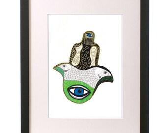 Hand of Fatima, Hand of Miriam, Healing Hand, Double Headed Eagle, Hamsa Hand, Wall Art, Home Decor, Egyptian Style, Art Print, cool Ink Art