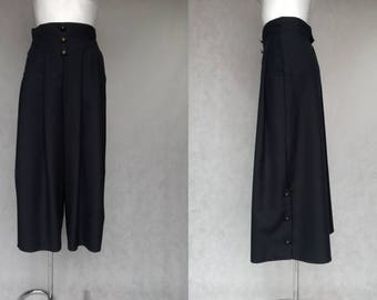 Black Vintage Culottes, Black Retro Trousers, Small Vintage Slacks, High Waist Culottes, Retro Womens Culotte, High Waist Black Skirtpants,