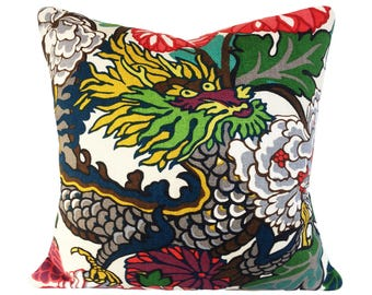 Schumacher Chiang Mai Dragon Pillow Cover - Decorative Pillow - Throw Pillow - Both Sides or Solid Cream Linen Back - ALL SIZES AVAILABLE
