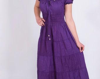 Womens Cotton Cambric  Smocked Waist Summer Beach Boho Dress, Plus size.