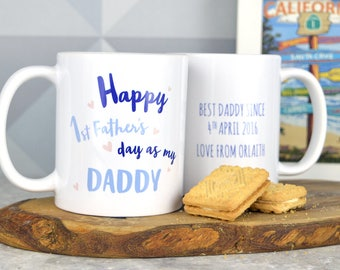 First Father's day mug for Daddy, personalised first Fathers day mug