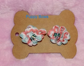 Puppy Bows ~ Rhinestone PALM TREE coral turquoise zig zag puffs  dog bow pair  ~USA seller