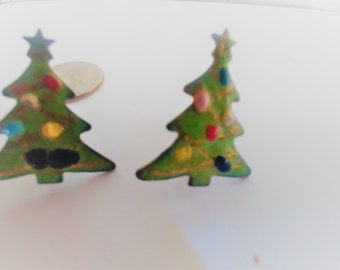 Vintage Copper Earrings / Christmas Earrings /  Screw Back Earrings / Copper Jewelry / Tree Earring / Christmas Earrings