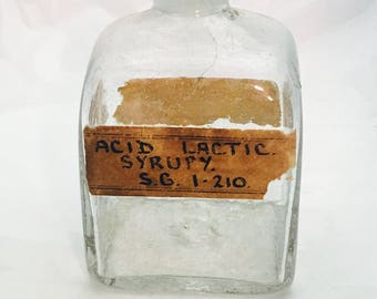 Vintage Hand Blown Glass Apothecary Pharmacy Medicine Bottle with Original Labels and Stopper
