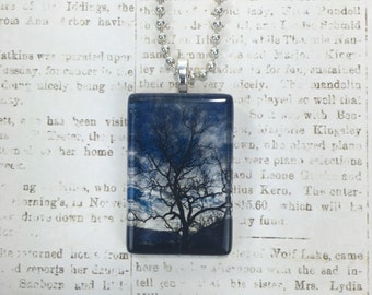 Tree and  Blue Sky Glass Photo Pendant, Tree Photo Necklace, Cloud Jewelry Pendant