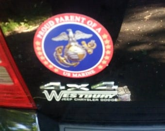 Proud Parent of a US Marine Circle Magnet - Weather and UV Resistant from Flexible Magnets