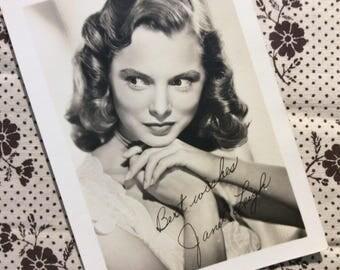 "JANET LEIGH, Original 1940s ""Signed / Autograph"" RP Real Photo Movie Star Studio Portrait."