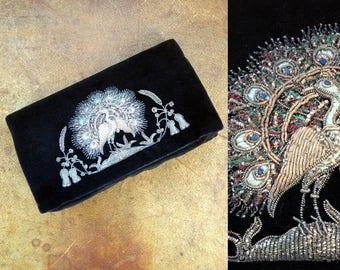 1930s-40s Zardosi Peacock Black Velvet Clutch with Gold Embroidery / 30s-40s Handbag / Vintage Zardozi Clutch Purse