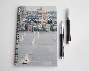 Quote Journal, Blank Paper Notebook,  Spiral bound, Sketch book, Sailboat Journal, Handmade Journal, Custom Notebook, Personalized Journal