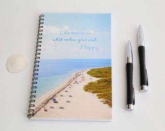 Beach Spiral Bound Journal, Blank Paper Notebook,  Summer Sketch book, Summer Diary, Ocean booklet, Handmade Journal, Custom Notebook