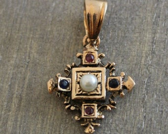 Vintage Pearl, Ruby and Sapphire Pendant -Sterling Silver pendant- Vintage pendant-Rose Gold Plated pendant- Estate Jewellery- Gifts for Her