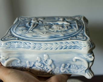 Blue & White - Footed High Relief Glazed Ceramic Jewelry Candy Trinket Box With Lid, Capodimonte Porcelain Vanity Box  Toile De Jouy, 1975