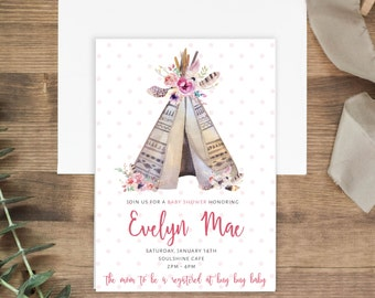 Tribal Tipee Baby Shower invitation | Printable (Digital) or Printed Invitations | Watercolor Floral | Aztec | Boho | Baby Girl | My Tribe