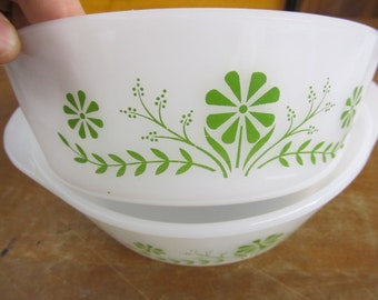 Vintage GLASSBAKE Green and White Baking Dish