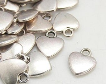25 Antique Silver Heart Charms 12mm x 10mm Pendants - Love Hearts Valentines NF TS128