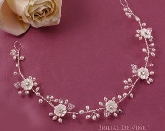 Harper - Bridal Hair Vine with Freshwater Pearls & Crystals