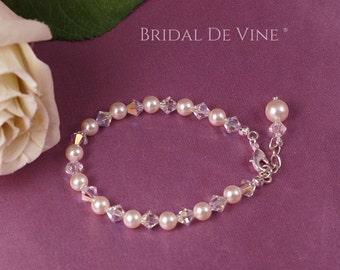 Pretty Bridal Pearl & Crystal Bracelet  - 'Heather'