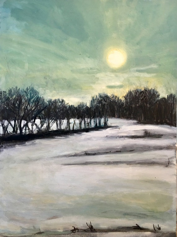 "Original Oil Painting: Winter Sky, 24"" x32"""