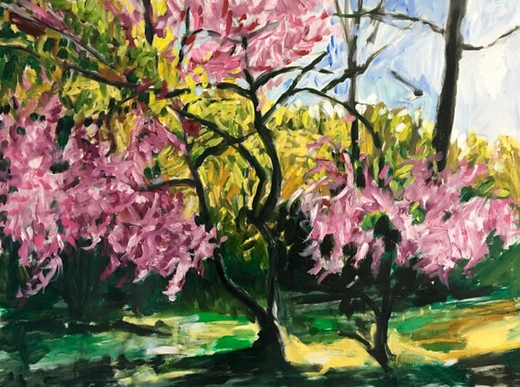 "Red Bud Tree, original oil painting, 32""x24"""