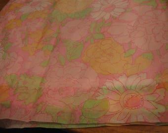 Darling 70's Handmade Curtains Lined Sheers Flowers Pink Green Pair
