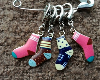 Stitch Markers for Crochet, Knitting Progress Stitch Markers, Set of 4 Enamel Socks
