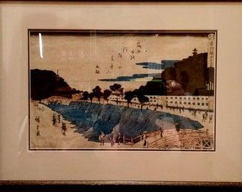 Block of wood artwork printed on Japanese paper (wood block on Japanese paper)