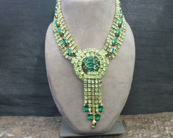 Vintage Green Rhinestone Statement Necklace