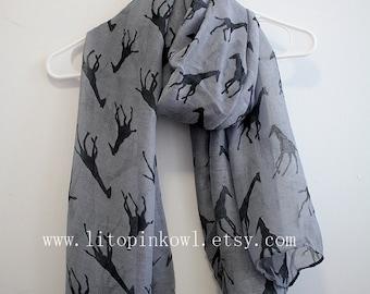 Gray Giraffe Scarf, Gift For Her, Gift For Giraffe Lover, Womens Scarves, Gift For Women, Christmas Gifts, For Girlfriend, Xmas Gift Idea