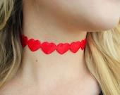 Choker Necklace- Heart Choker Necklace/Red Heart Choker/Red Satin Heart Choker/