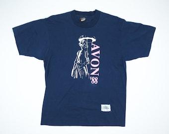 Vintage AVON Shirt L - 80s Avon Tshirt - Avon Lady With Umbrella Tshirt Large - Screen Stars Tshirt L - Makeup Tshirt - 1988 AVON Tshirt