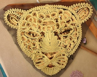 1pc Super Luxury Lace Appliques Gold Paillette Tiger Exquisite Lace Appliqu Wedding Dress Grown