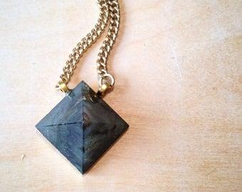 Labradorite Pyramid Necklace, Gold Labradorite Necklace