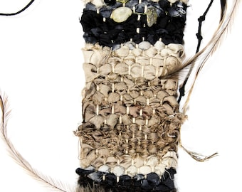 Handwoven necklace - silk ribbon and wool with obsidian, clear quartz and emu feathers