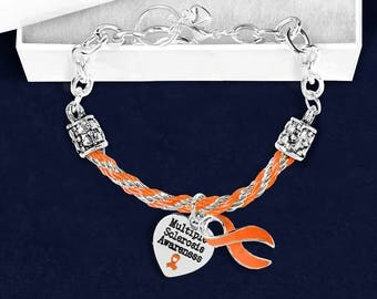 12 Multiple Sclerosis Orange Ribbon Partial Rope Bracelets in Gift Boxes (12 Bracelets) (B-18-5MS)