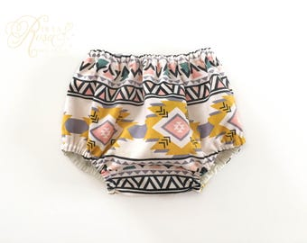 Tribal Diaper Cover - Bloomer Bottoms - Photography - Corduroy Aztec Print Nappy Cover - Baby Girl Fashion - Dusty Rose Pink Gray & Yellow