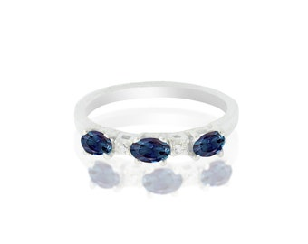 Alexandrite Ring -Natural Alexandrite- in 14K White gold with CERTIFICATE!!!   Free Shipping in The USA