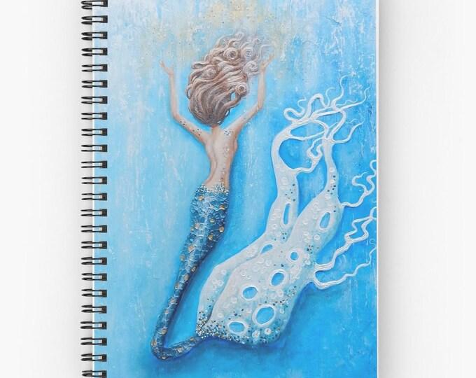 Mermaid lined spiral writing journal, blue mermaid blank book, mermaid lovers gift. , Original art by Nancy Quiaoit.
