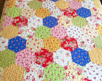 Patchwork Quilt Handmade Single Bed Pam Kitty fabrics New Hexagons Free Postage