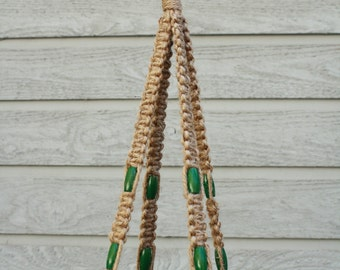 Jute Macrame Plant Hanger with Green Oblong Wooden Beads