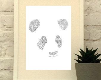Personalised Panda Print, Panda Art Work, Animal Art, Panda picture print, Panda Art Print, Panda pictures, Panda Bear Gift, Kids Room Decor