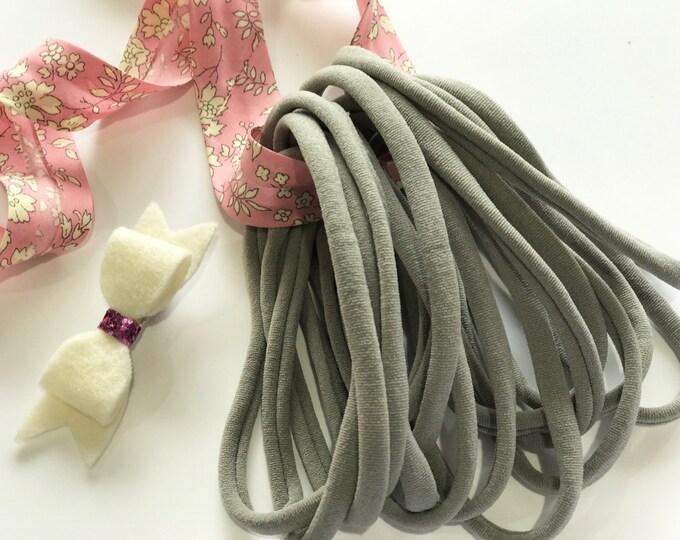10 Pieces Thin Wholesale Nylon Headbands 6mm Thin 26cm Super Stretchy Baby Toddler Adult Bulk Nylon Headbands   GREY   Australian Seller