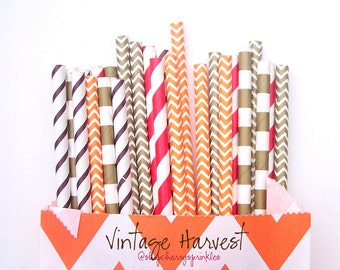 Vintage Harvest -Brown and Gold Straws -Gold Straws -Orange Straws -Red Straws -Gold and Orange Decor -Fall Table top decor -Harvest Party